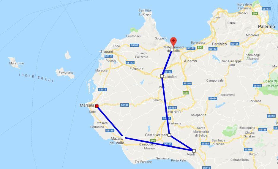 Cartina Sicilia Selinunte.Itin 1 2019